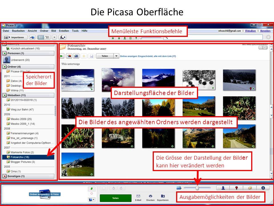 Die Picasa Oberfläche Darstellungsfläche der Bilder Die Grösse der Darstellung der Bild er kann hier verändert werden Die Bilder des angewählten Ordners werden dargestellt Speicherort der Bilder Menüleiste Funktionsbefehle Ausgabemöglichkeiten der Bilder