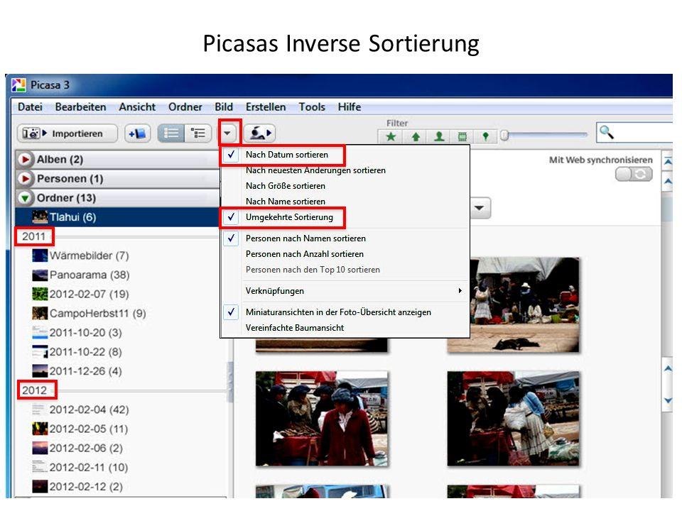 Picasas Inverse Sortierung