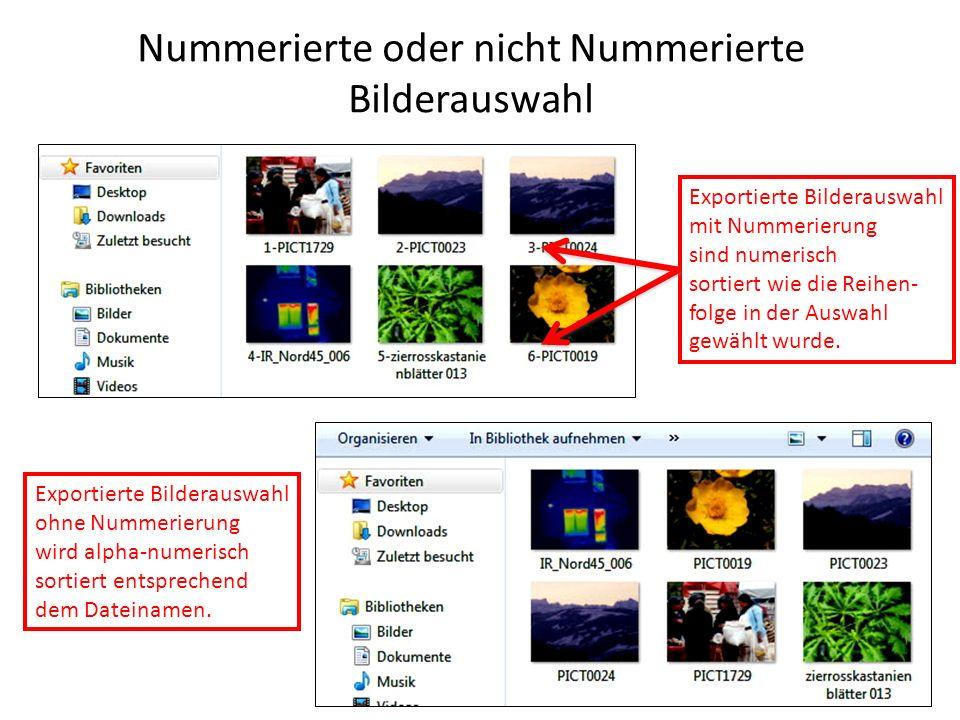 Nummerierte oder nicht Nummerierte Bilderauswahl Exportierte Bilderauswahl mit Nummerierung sind numerisch sortiert wie die Reihen- folge in der Auswahl gewählt wurde.