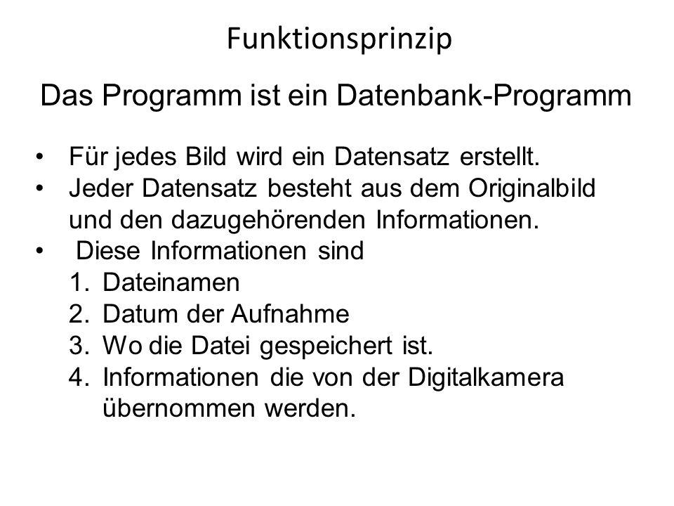 Funktionsprinzip Das Programm ist ein Datenbank-Programm Für jedes Bild wird ein Datensatz erstellt. Jeder Datensatz besteht aus dem Originalbild und