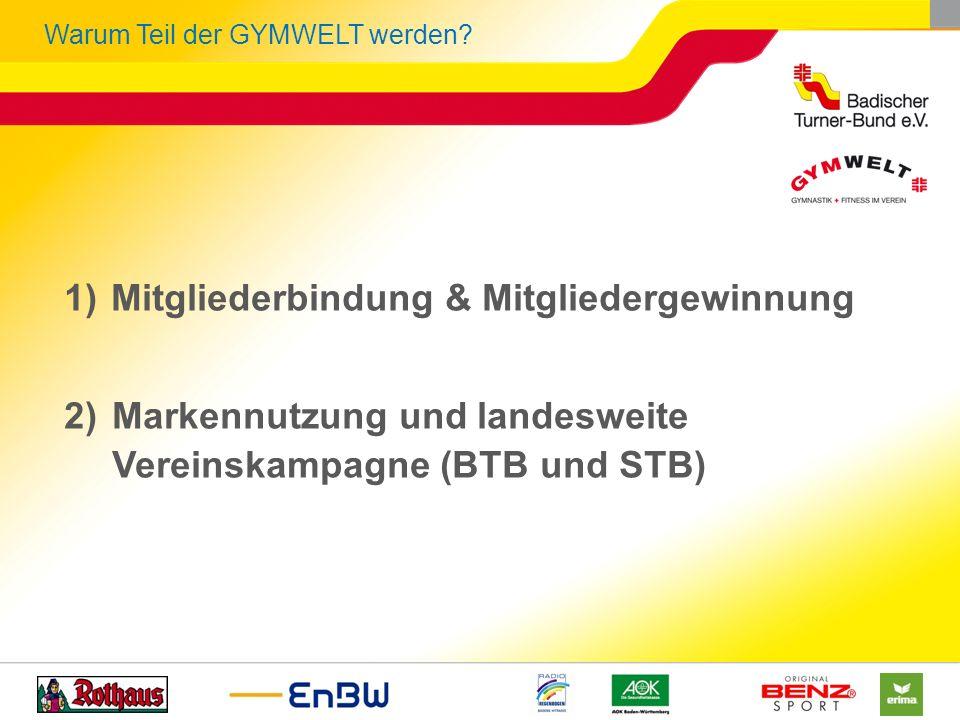 Warum Teil der GYMWELT werden? 1)Mitgliederbindung & Mitgliedergewinnung 2)Markennutzung und landesweite Vereinskampagne (BTB und STB)