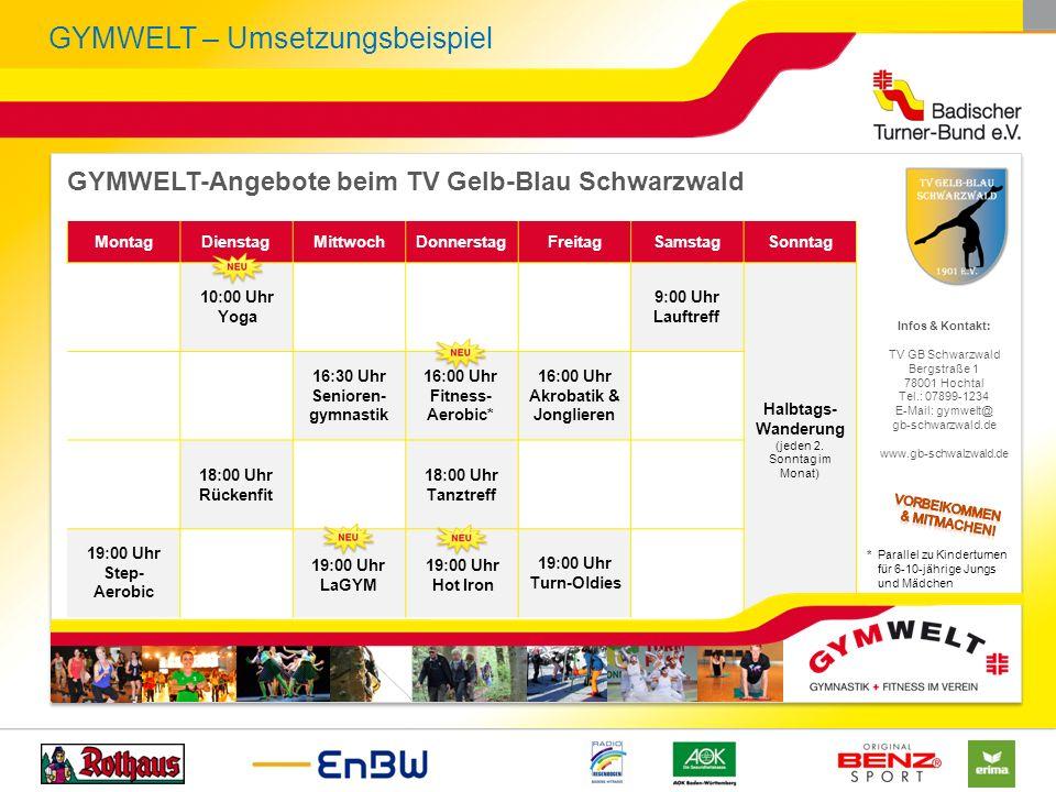 GYMWELT – Umsetzungsbeispiel GYMWELT-Angebote beim TV Gelb-Blau Schwarzwald Infos & Kontakt: TV GB Schwarzwald Bergstraße 1 78001 Hochtal Tel.: 07899-