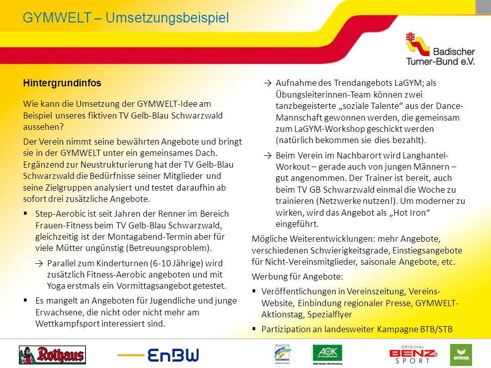 GYMWELT – Umsetzungsbeispiel Hintergrundinfos Wie kann die Umsetzung der GYMWELT-Idee am Beispiel unseres fiktiven TV Gelb-Blau Schwarzwald aussehen?