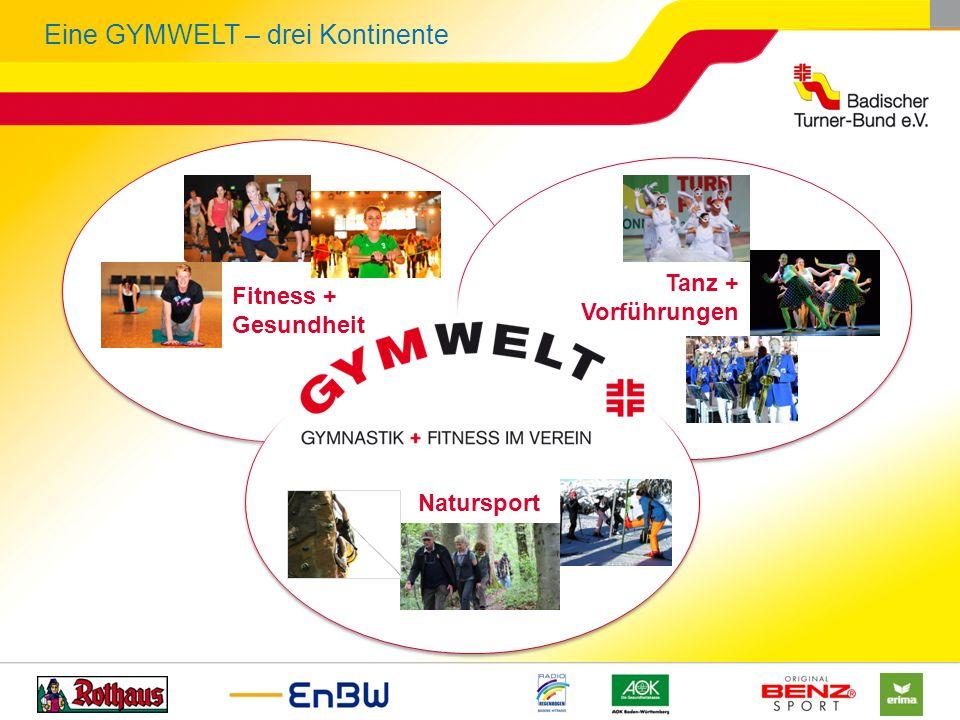 Eine GYMWELT – drei Kontinente Natursport Fitness + Gesundheit Tanz + Vorführungen