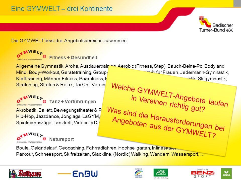 Eine GYMWELT – drei Kontinente Die GYMWELT fasst drei Angebotsbereiche zusammen: Fitness + Gesundheit Allgemeine Gymnastik, Aroha, Ausdauertraining, A