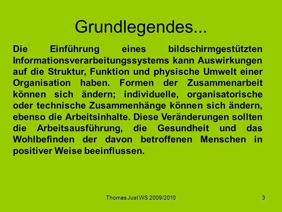 Thomas Just WS 2009/20103 Grundlegendes... Die Einführung eines bildschirmgestützten Informationsverarbeitungssystems kann Auswirkungen auf die Strukt