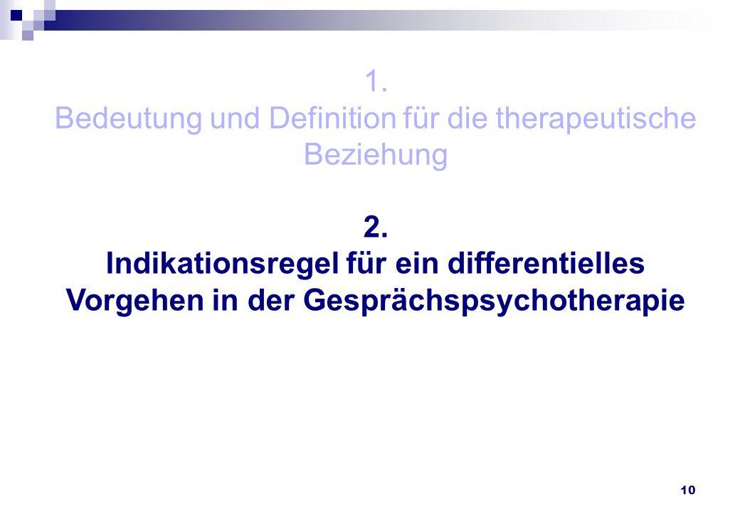 10 1. Bedeutung und Definition für die therapeutische Beziehung 2. Indikationsregel für ein differentielles Vorgehen in der Gesprächspsychotherapie