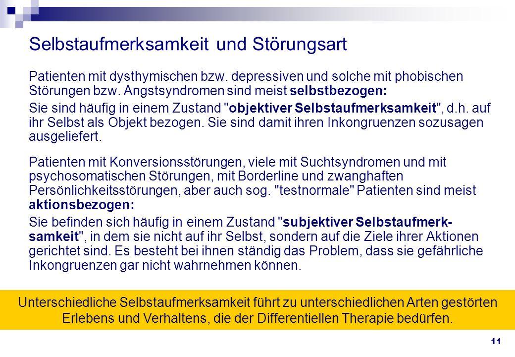 11 Selbstaufmerksamkeit und Störungsart Patienten mit dysthymischen bzw. depressiven und solche mit phobischen Störungen bzw. Angstsyndromen sind meis