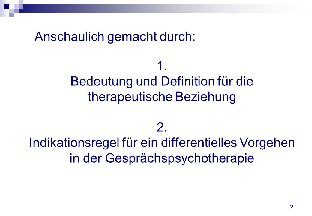 2 1. Bedeutung und Definition für die therapeutische Beziehung 2. Indikationsregel für ein differentielles Vorgehen in der Gesprächspsychotherapie Ans