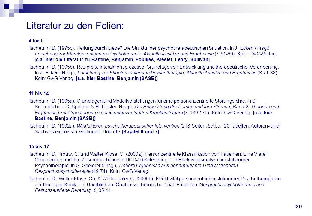 20 Literatur zu den Folien: 4 bis 9 Tscheulin, D. (1995c). Heilung durch Liebe? Die Struktur der psychotherapeutischen Situation. In J. Eckert (Hrsg.)