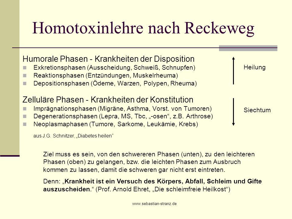 www.sebastian-stranz.de Homotoxinlehre nach Reckeweg Humorale Phasen - Krankheiten der Disposition Exkretionsphasen (Ausscheidung, Schweiß, Schnupfen)