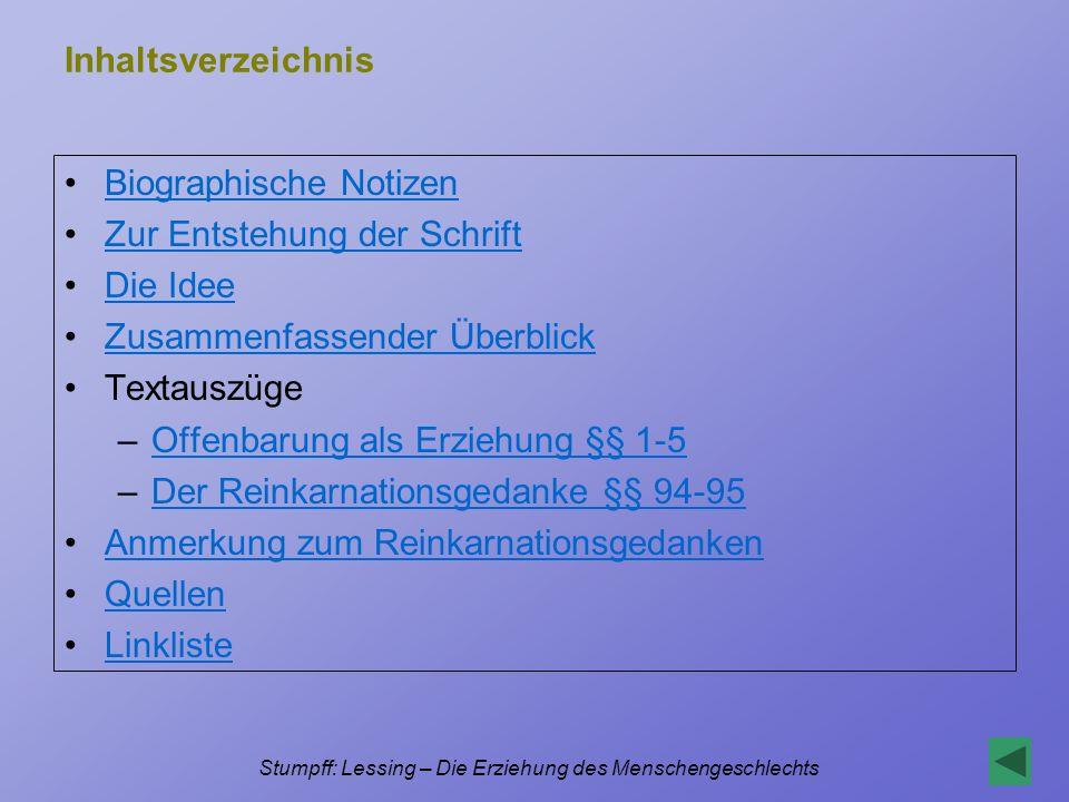 Stumpff: Lessing – Die Erziehung des Menschengeschlechts Linksammlung Auszüge und Meditationen http://www.philos- website.de/index_c.htm?autoren/lessing_c.htm~main2 (21.3.2004) Projekt Gutenberg (vollständiger Text) http://gutenberg.spiegel.de/lessing/erziehng/erziehn2.htm (21.3.2004) Werkanalyse bei Wikipedia http://de.wikipedia.org/wiki/Die_Erziehung_des_Menschengeschlechts (15.9.2004) http://de.wikipedia.org/wiki/Die_Erziehung_des_Menschengeschlechts Werkbeschreibung, Inhaltsangabe und Bibliographie zu Nathan und Minna von Barnhelm http://www.xlibris.de/Autoren/Lessing/Interpretation/Nathan.htm (21.3.2004)