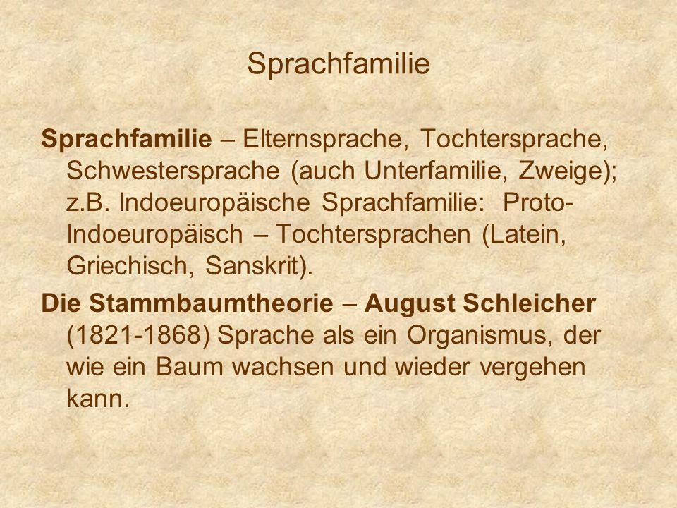 Sprachfamilie Sprachfamilie – Elternsprache, Tochtersprache, Schwestersprache (auch Unterfamilie, Zweige); z.B. Indoeuropäische Sprachfamilie: Proto-