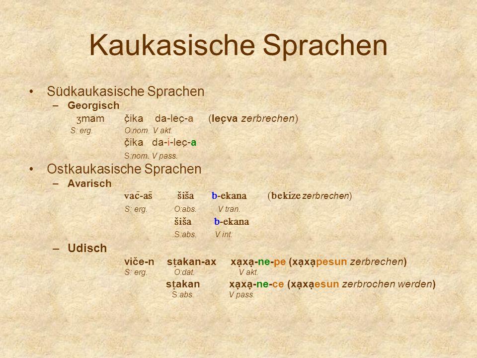 Kaukasische Sprachen Südkaukasische Sprachen –Georgisch ʒ mam č̣ika da-lec̣-a (lec̣va zerbrechen) S: erg. O:nom. V akt. č̣ika da-i-lec̣-a S:nom. V pas