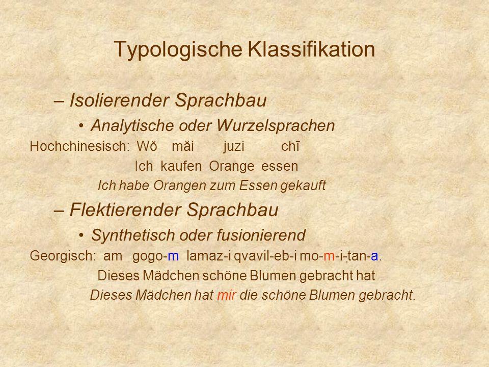 Typologische Klassifikation –Isolierender Sprachbau Analytische oder Wurzelsprachen Hochchinesisch: Wŏ măi juzi chī Ich kaufen Orange essen Ich habe O