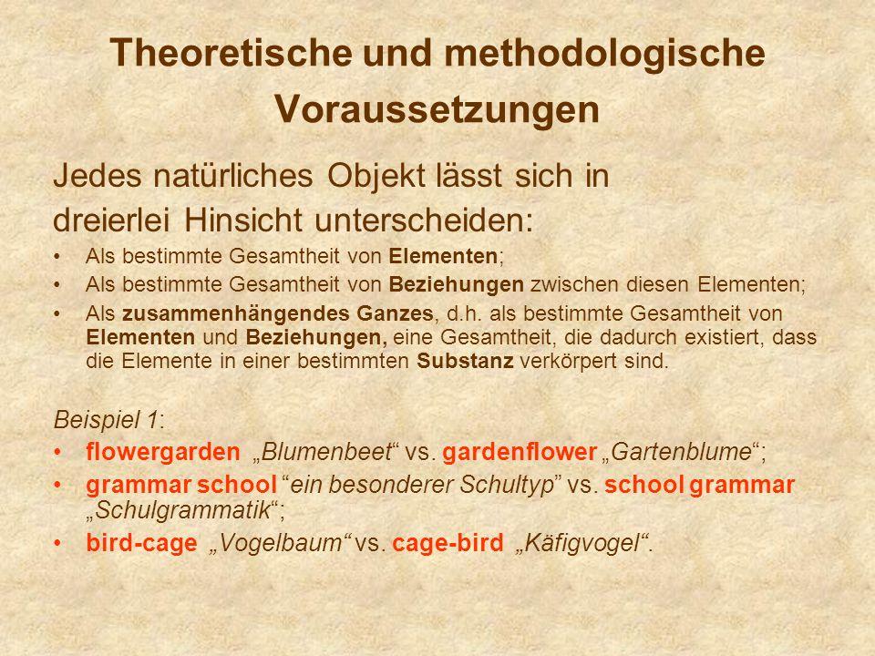 Theoretische und methodologische Voraussetzungen Jedes natürliches Objekt lässt sich in dreierlei Hinsicht unterscheiden: Als bestimmte Gesamtheit von
