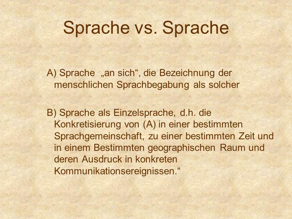 Sprache vs. Sprache A) Sprache an sich, die Bezeichnung der menschlichen Sprachbegabung als solcher B) Sprache als Einzelsprache, d.h. die Konkretisie