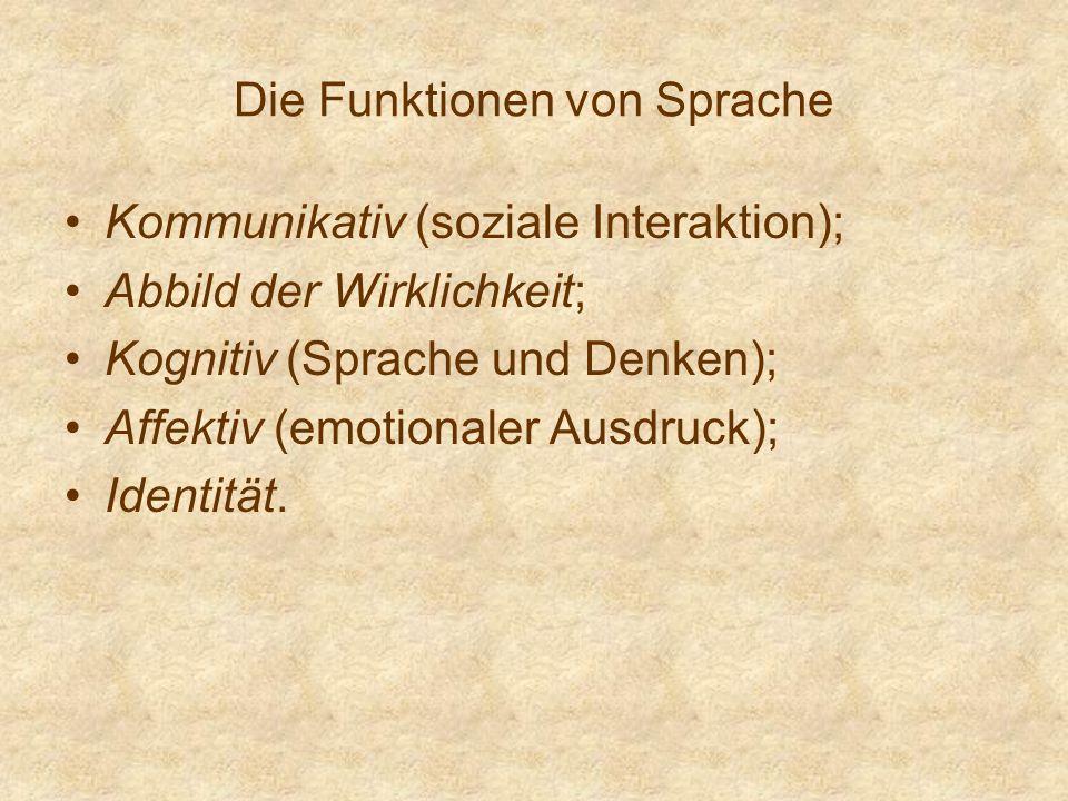 Die Funktionen von Sprache Kommunikativ (soziale Interaktion); Abbild der Wirklichkeit; Kognitiv (Sprache und Denken); Affektiv (emotionaler Ausdruck)