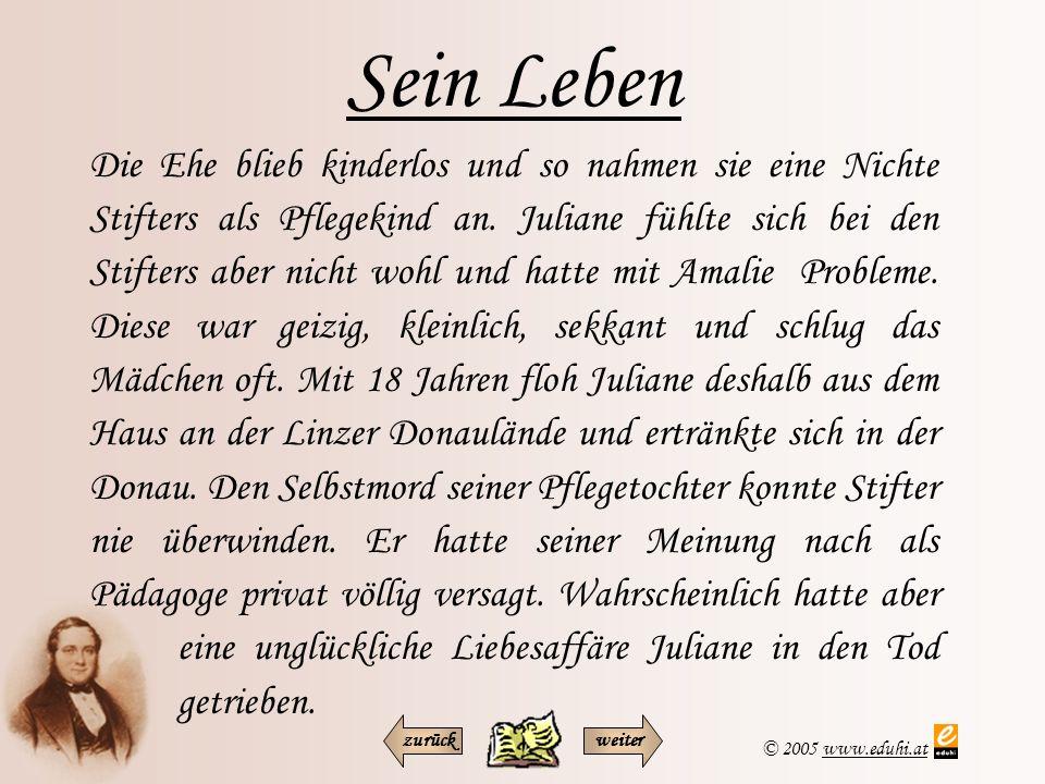 © 2005 www.eduhi.atwww.eduhi.at Sein Leben Stifter war auch Landesschulinspektor für Volksschulen und widmete sich seiner Aufgabe mit großem Engagement.