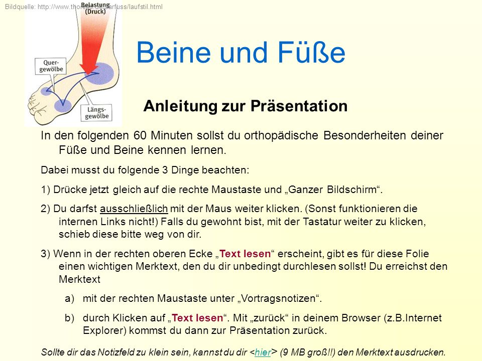Beine und Füße Anleitung zur Präsentation Bildquelle: http://www.thoreau.de/barfuss/laufstil.html In den folgenden 60 Minuten sollst du orthopädische Besonderheiten deiner Füße und Beine kennen lernen.