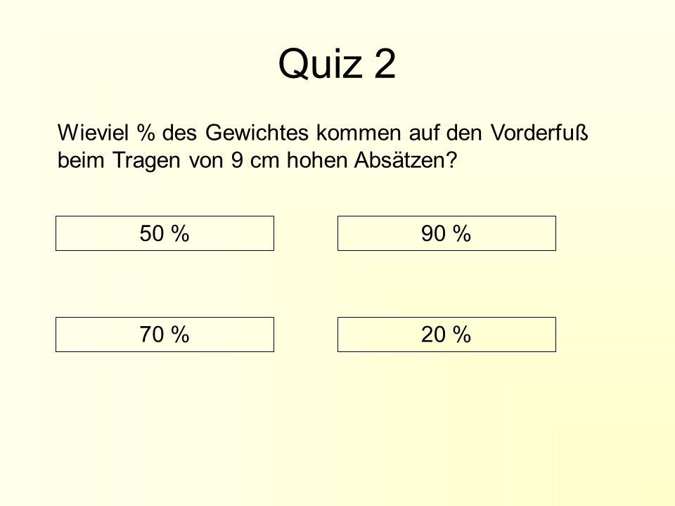 Quiz 2 Wieviel % des Gewichtes kommen auf den Vorderfuß beim Tragen von 9 cm hohen Absätzen.