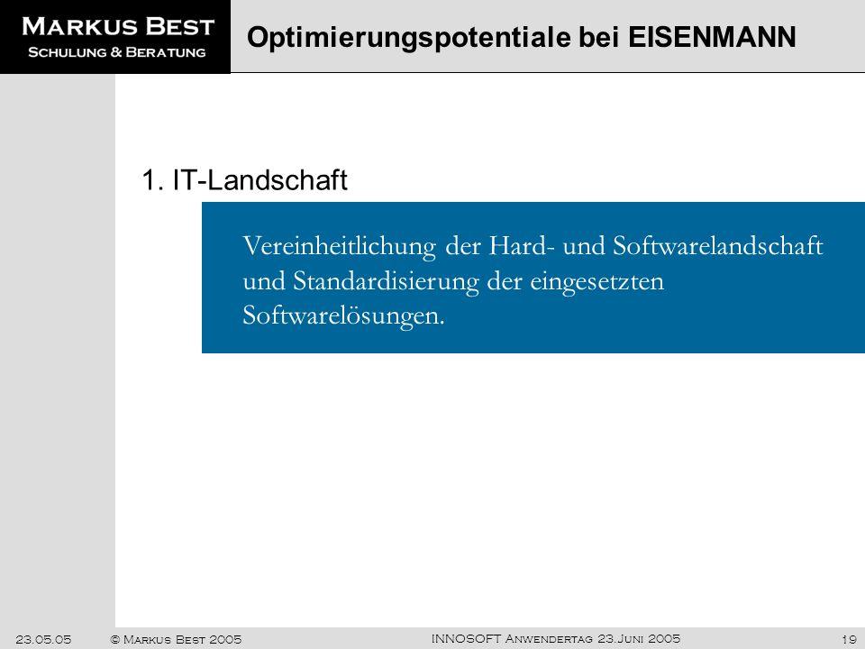 INNOSOFT Anwendertag 23.Juni 2005 23.05.05© Markus Best 200519 1. IT-Landschaft Optimierungspotentiale bei EISENMANN Vereinheitlichung der Hard- und S
