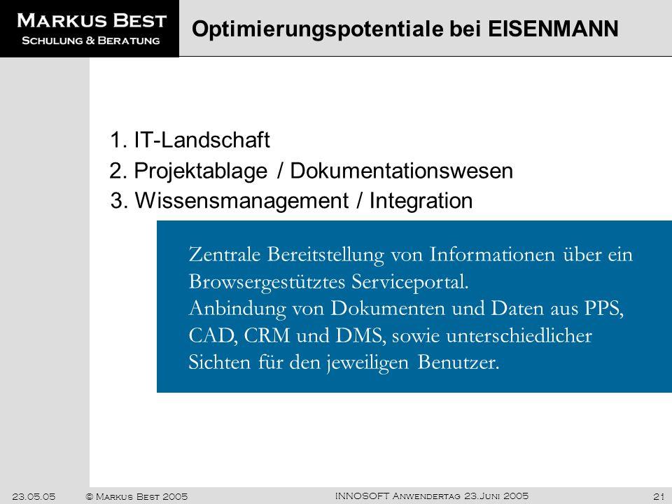 INNOSOFT Anwendertag 23.Juni 2005 23.05.05© Markus Best 200521 1. IT-Landschaft Optimierungspotentiale bei EISENMANN Zentrale Bereitstellung von Infor
