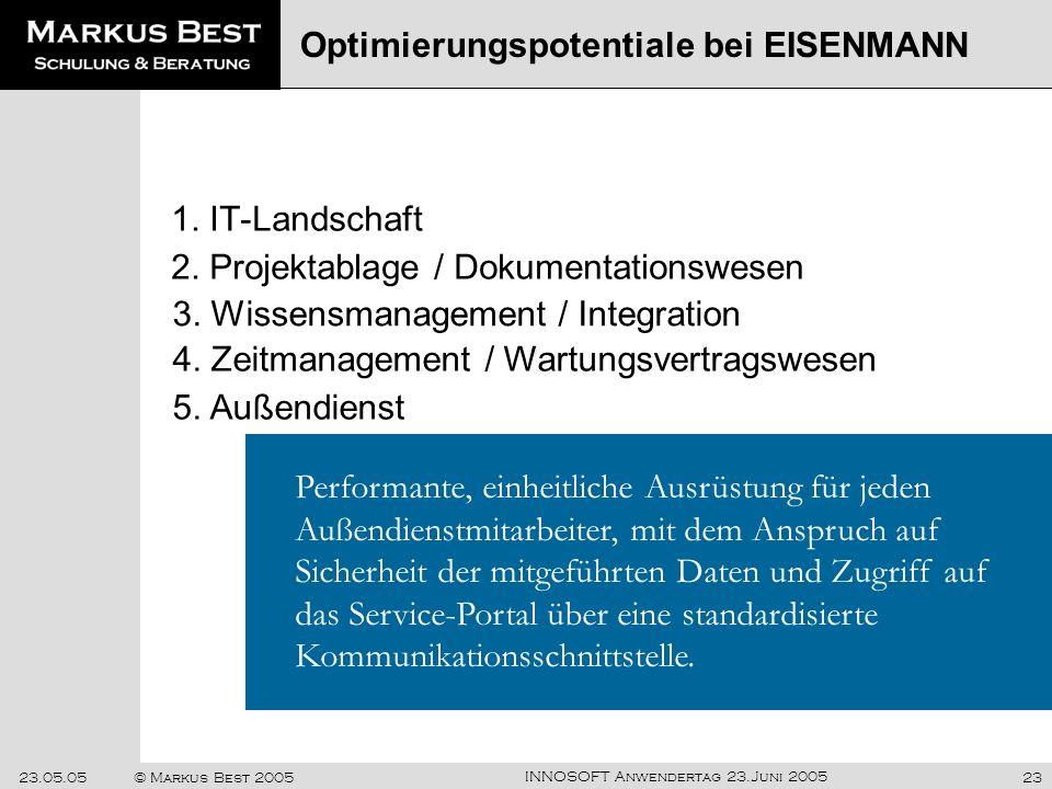 INNOSOFT Anwendertag 23.Juni 2005 23.05.05© Markus Best 200523 1. IT-Landschaft Optimierungspotentiale bei EISENMANN Performante, einheitliche Ausrüst