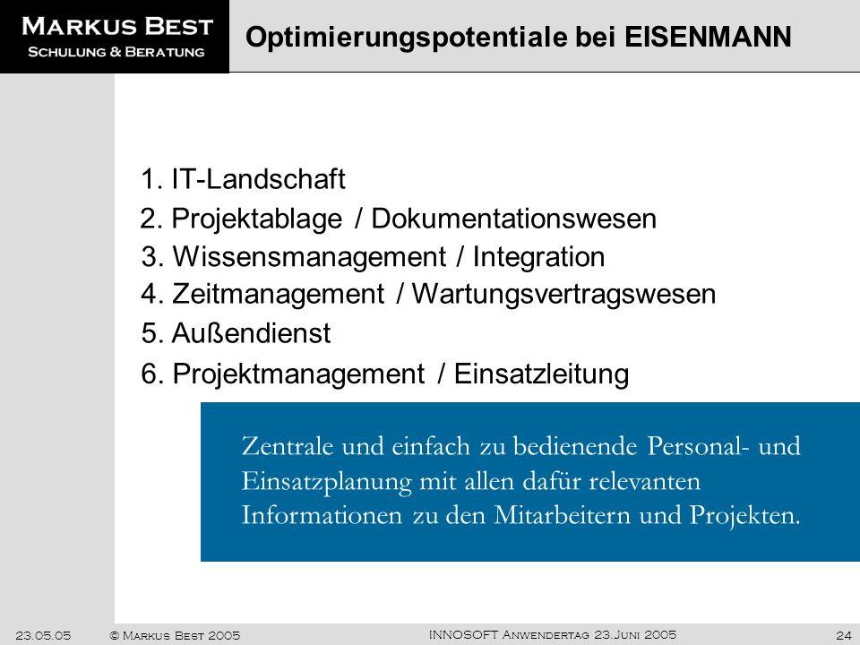 INNOSOFT Anwendertag 23.Juni 2005 23.05.05© Markus Best 200524 1. IT-Landschaft Optimierungspotentiale bei EISENMANN Zentrale und einfach zu bedienend
