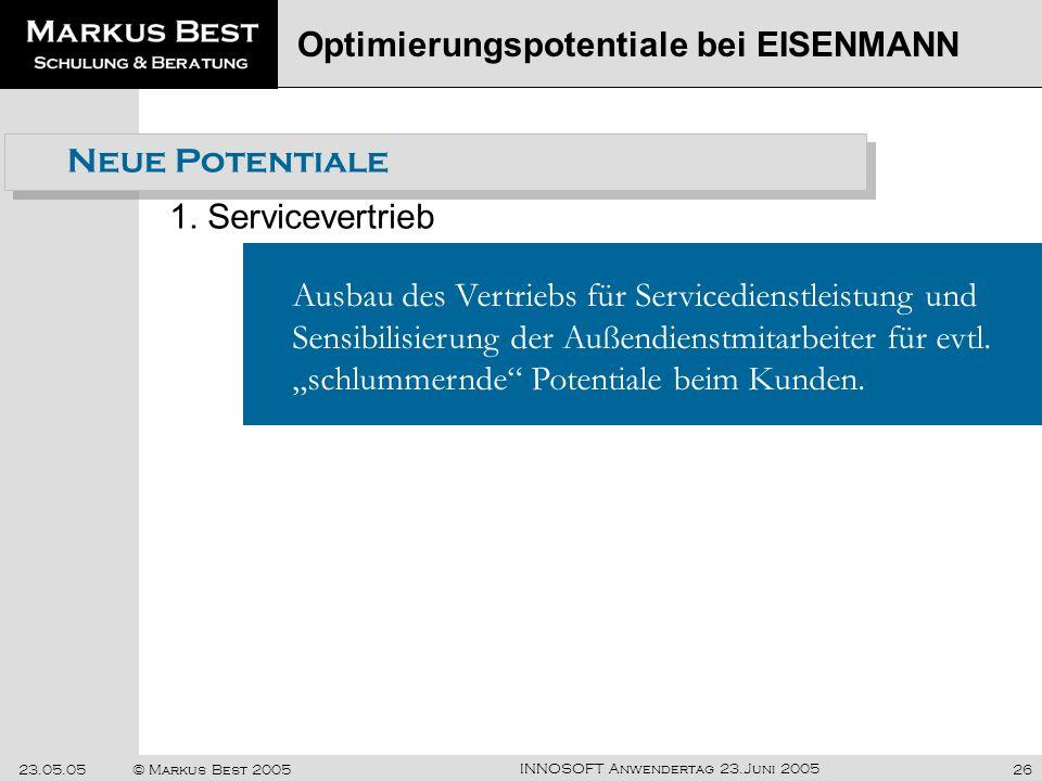 INNOSOFT Anwendertag 23.Juni 2005 23.05.05© Markus Best 200526 Neue Potentiale 1. Servicevertrieb Optimierungspotentiale bei EISENMANN Ausbau des Vert