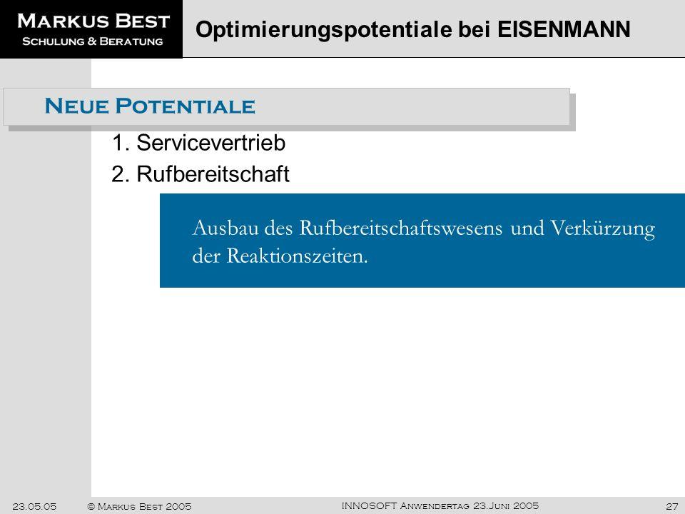 INNOSOFT Anwendertag 23.Juni 2005 23.05.05© Markus Best 200527 1. Servicevertrieb Optimierungspotentiale bei EISENMANN Ausbau des Rufbereitschaftswese