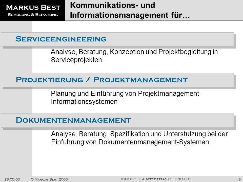 INNOSOFT Anwendertag 23.Juni 2005 23.05.05© Markus Best 20053 Kommunikations- und Informationsmanagement für… Analyse, Beratung, Konzeption und Projek