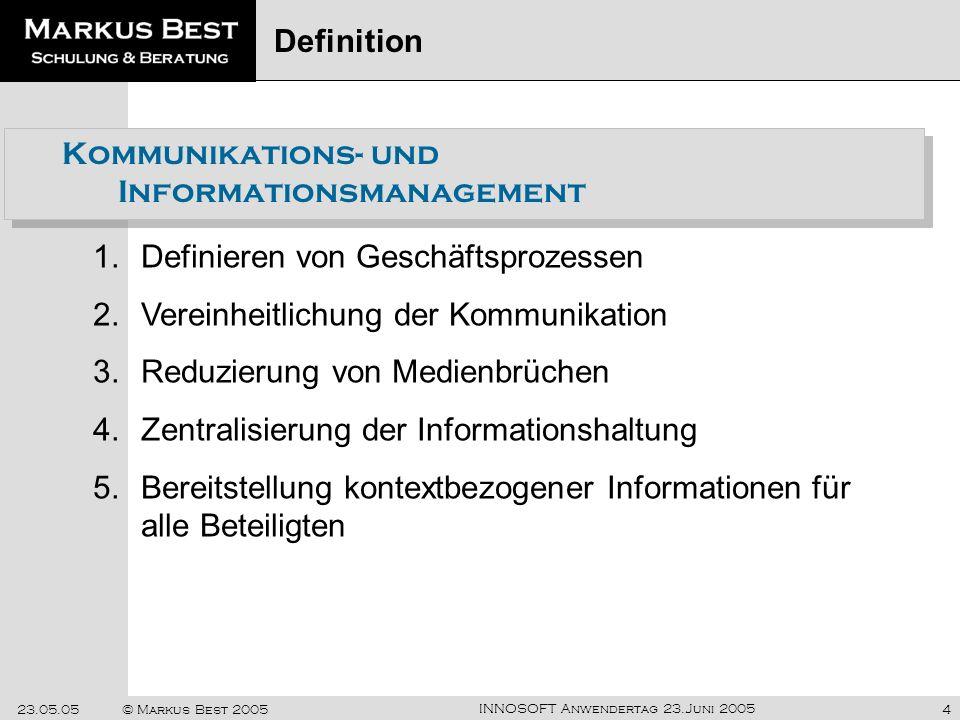 INNOSOFT Anwendertag 23.Juni 2005 23.05.05© Markus Best 20054 Kommunikations- und Informationsmanagement 1.Definieren von Geschäftsprozessen 2.Vereinh