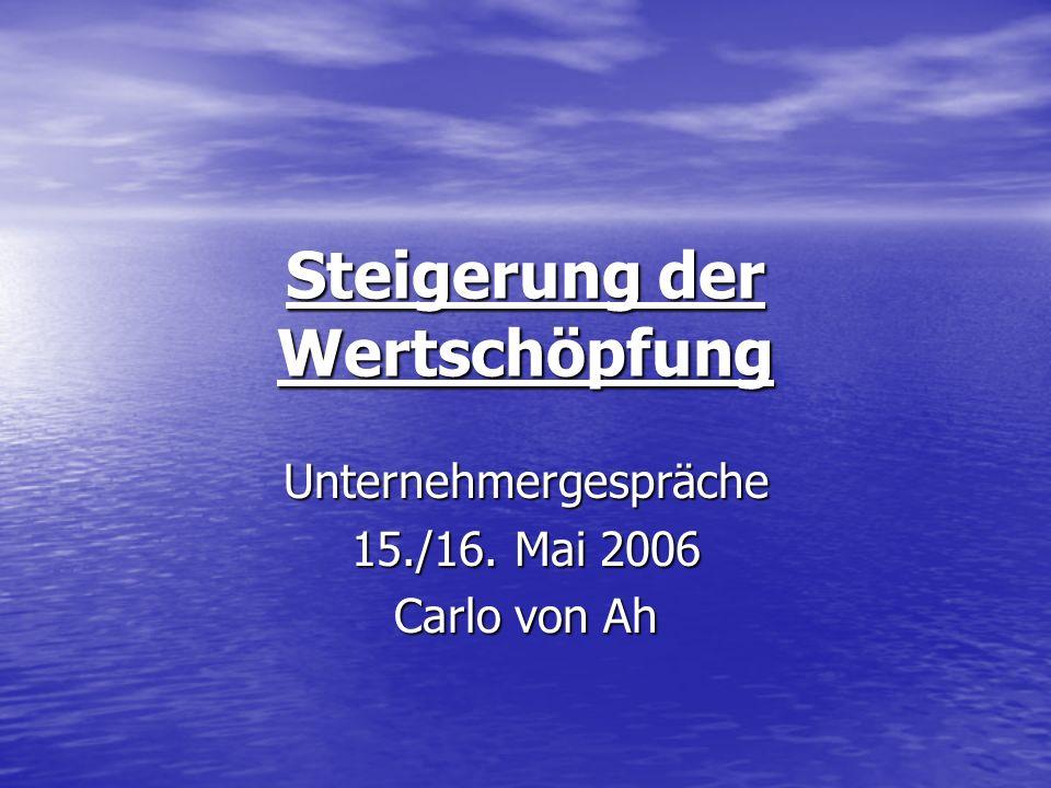 Steigerung der Wertschöpfung Unternehmergespräche 15./16. Mai 2006 Carlo von Ah