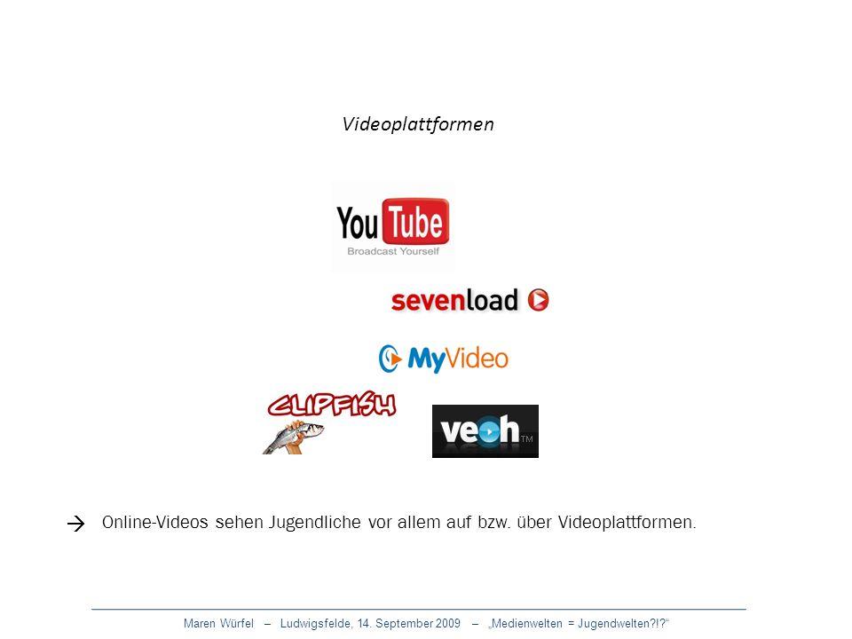 Maren Würfel – Ludwigsfelde, 14. September 2009 – Medienwelten = Jugendwelten?!? Videoplattformen Online-Videos sehen Jugendliche vor allem auf bzw. ü