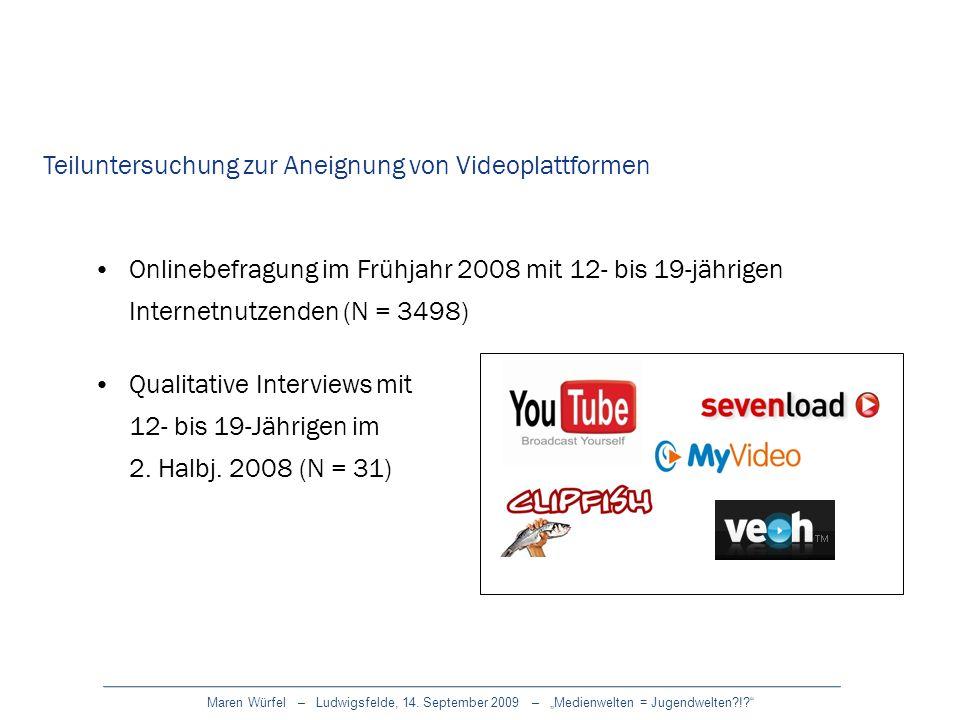 Maren Würfel – Ludwigsfelde, 14. September 2009 – Medienwelten = Jugendwelten?!? Teiluntersuchung zur Aneignung von Videoplattformen Onlinebefragung i