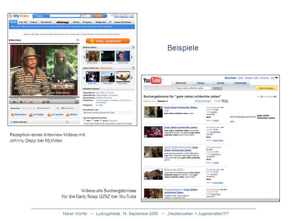 Maren Würfel – Ludwigsfelde, 14. September 2009 – Medienwelten = Jugendwelten?!? Rezeption eines Interview-Videos mit Johnny Depp bei MyVideo Videos a