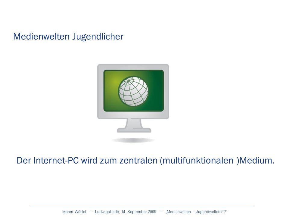 Medienwelten Jugendlicher Der Internet-PC wird zum zentralen (multifunktionalen )Medium.