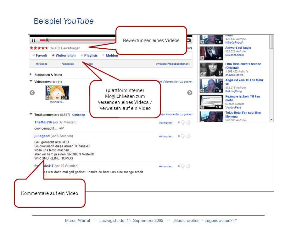 Maren Würfel – Ludwigsfelde, 14. September 2009 – Medienwelten = Jugendwelten?!? Beispiel YouTube Kommentare auf ein Video Bewertungen eines Videos (p