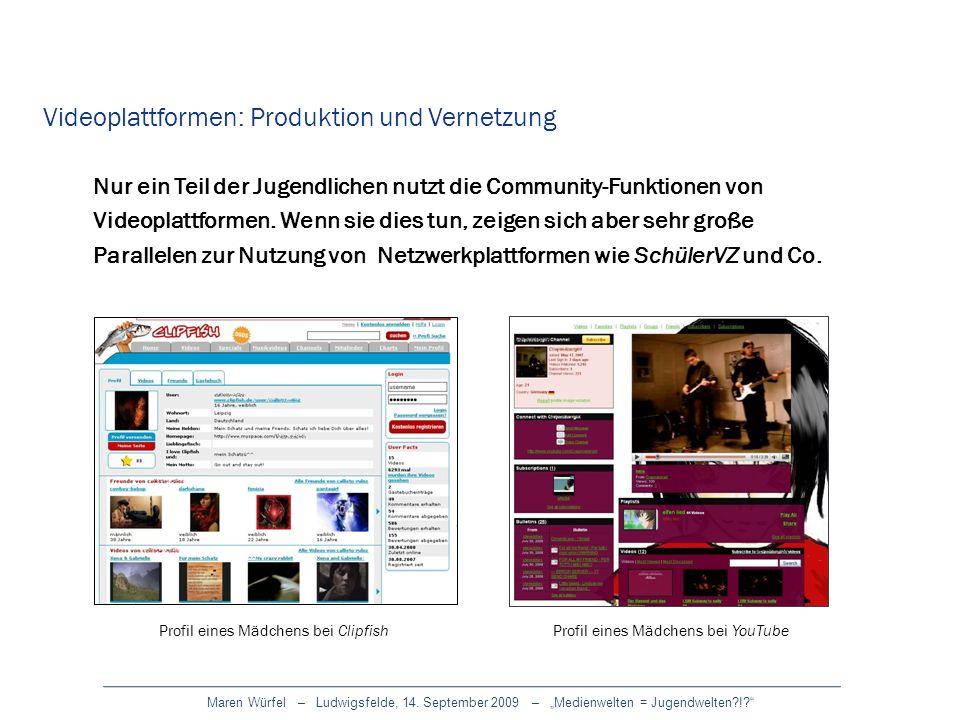 Maren Würfel – Ludwigsfelde, 14. September 2009 – Medienwelten = Jugendwelten?!? Videoplattformen: Produktion und Vernetzung Nur ein Teil der Jugendli