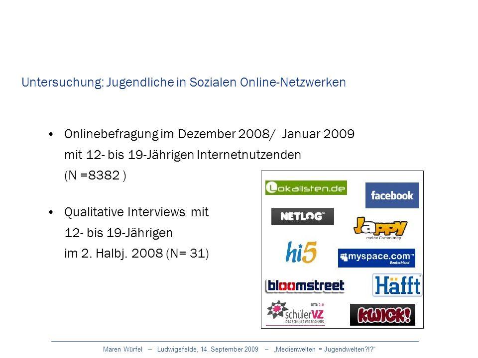 Maren Würfel – Ludwigsfelde, 14. September 2009 – Medienwelten = Jugendwelten?!? Untersuchung: Jugendliche in Sozialen Online-Netzwerken Onlinebefragu