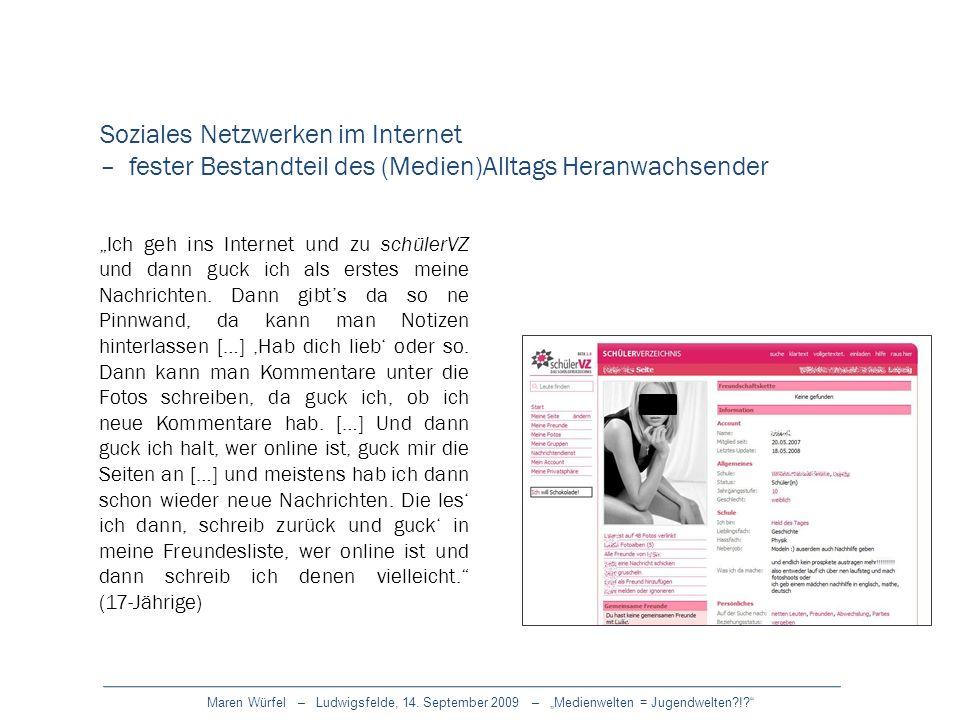 Maren Würfel – Ludwigsfelde, 14. September 2009 – Medienwelten = Jugendwelten?!? Ich geh ins Internet und zu schülerVZ und dann guck ich als erstes me