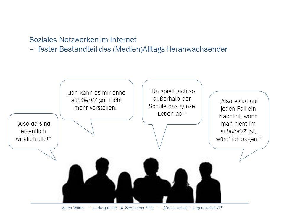 Maren Würfel – Ludwigsfelde, 14. September 2009 – Medienwelten = Jugendwelten?!? Ich kann es mir ohne schülerVZ gar nicht mehr vorstellen. Also es ist