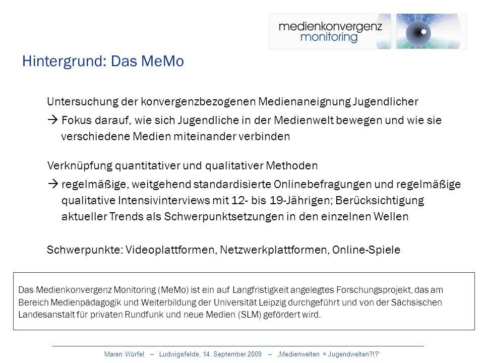 Hintergrund: Das MeMo Untersuchung der konvergenzbezogenen Medienaneignung Jugendlicher Fokus darauf, wie sich Jugendliche in der Medienwelt bewegen u