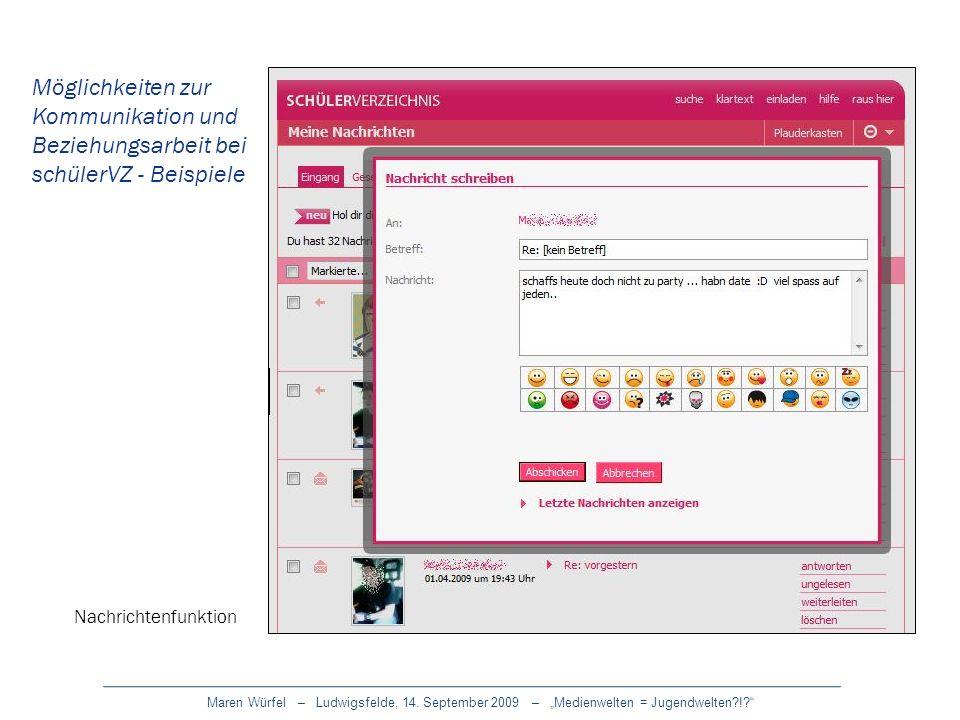 Maren Würfel – Ludwigsfelde, 14. September 2009 – Medienwelten = Jugendwelten?!? Nachrichtenfunktion Möglichkeiten zur Kommunikation und Beziehungsarb