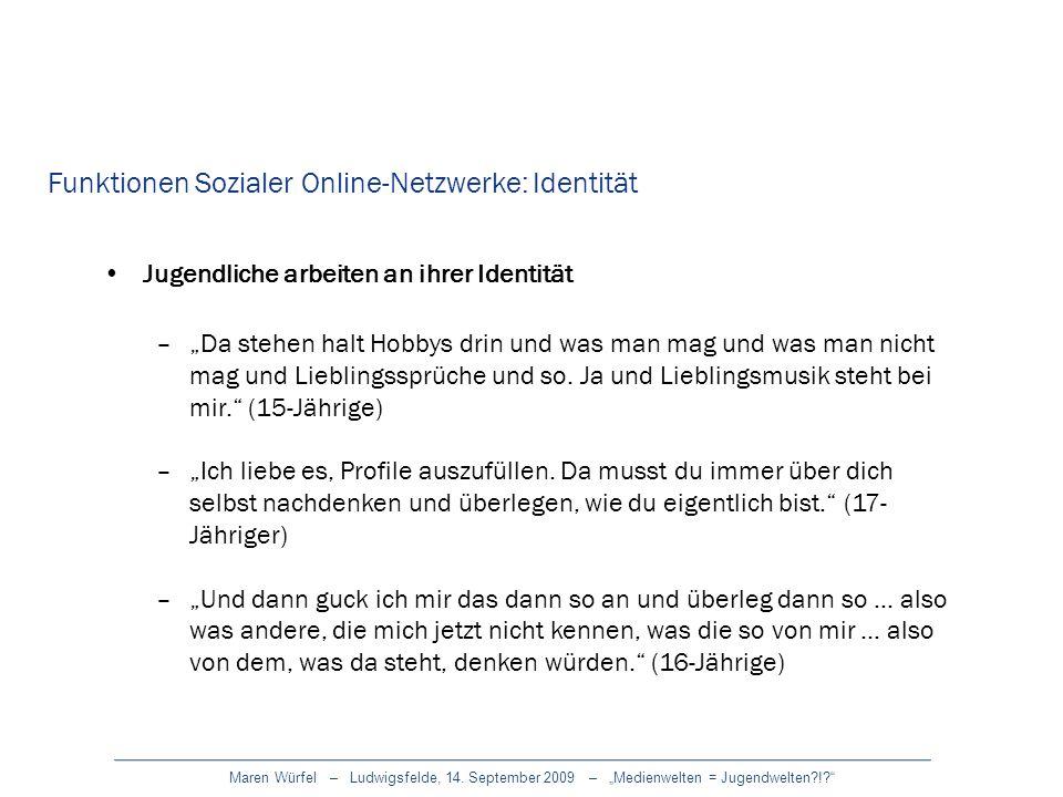 Maren Würfel – Ludwigsfelde, 14. September 2009 – Medienwelten = Jugendwelten?!? Jugendliche arbeiten an ihrer Identität –Da stehen halt Hobbys drin u