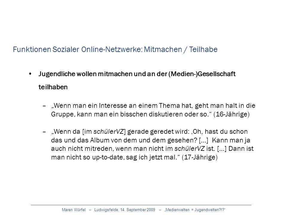 Maren Würfel – Ludwigsfelde, 14. September 2009 – Medienwelten = Jugendwelten?!? Jugendliche wollen mitmachen und an der (Medien-)Gesellschaft teilhab