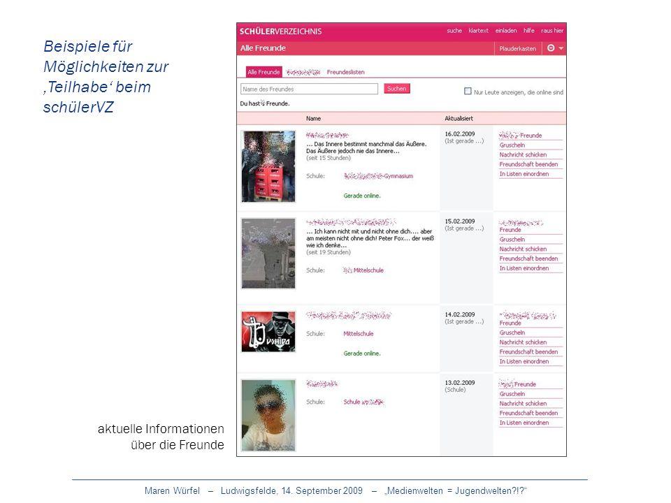 Maren Würfel – Ludwigsfelde, 14. September 2009 – Medienwelten = Jugendwelten?!? Beispiele für Möglichkeiten zur Teilhabe beim schülerVZ aktuelle Info