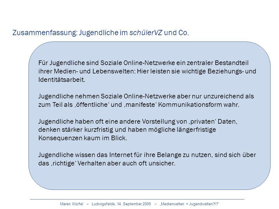 Maren Würfel – Ludwigsfelde, 14. September 2009 – Medienwelten = Jugendwelten?!? Zusammenfassung: Jugendliche im schülerVZ und Co. Für Jugendliche sin