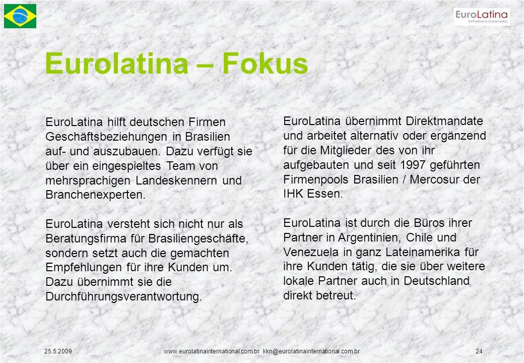 25.5.2009www.eurolatinainternational.com.br kkn@eurolatinainternational.com.br24 Eurolatina – Fokus EuroLatina hilft deutschen Firmen Geschäftsbeziehungen in Brasilien auf- und auszubauen.